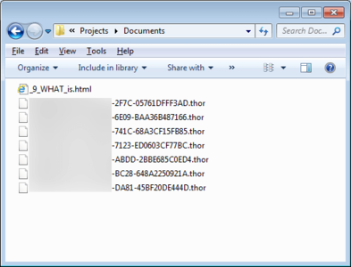 Screenshot of an Indicator of encrypted Files