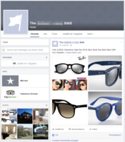 Screenshot of a digital hotel's Facebook wall spreading Ray-Ban spam