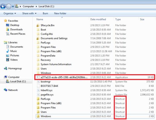 Screenshot of Windows Explorer, showing shortcuts in system drive