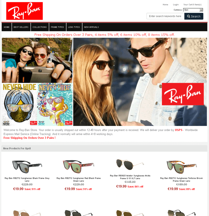 2a372124dd25 Sunglasses Spam: 85% Discount? That has to be 100% fake! | SECURITY BLOG