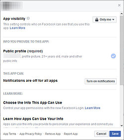 Facebook settings: Which app accesses which information can be checked here.