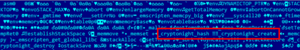 "Bytecode of the Cryptonight coinminer that was compiled in Wasm. Highlighted are the module names ""_cryptonight_hash"" and ""_cryptonight_create""."