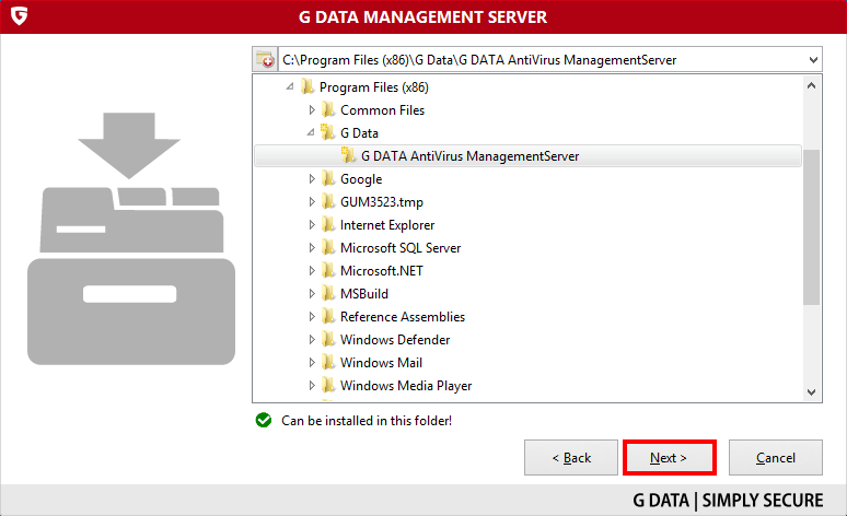 How to install and activate the G DATA ManagementServer (Using your