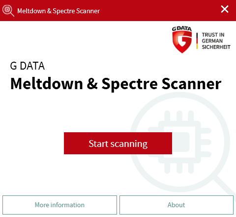 G DATA Meltdown and Spectre Scan Start