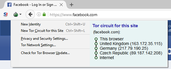 The TOR browser routes a request through several nodes. From the point of view of the destination node, this request comes from the Czech Republic.