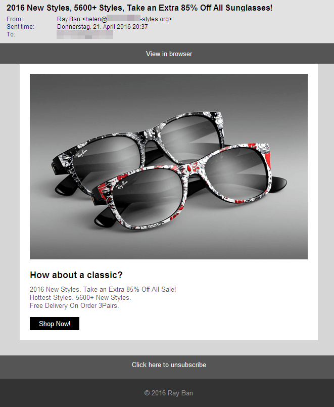 08ca4a00ff Sunglasses Spam  85% Discount  That has to be 100% fake!